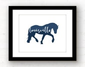 Louisville art print | Louisville wall art | Louisville Kentucky home decor | Louisville horse art | horse silhouette art | Kentucky decor