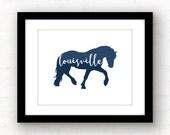 Louisville art print | Louisville wall art | Louisville Kentucky home decor | Louisville horse art | horse silhouette art | Kentucky decor