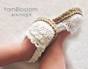 CROCHET PATTERN Baby Girl Espadrille Shoes (4 sizes included from 0-12 months) Instant Download