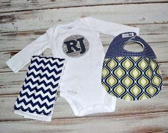 Baby Boy Initial Onesie Bib & Burp Cloth Gift Set - Pick your Custom Set! - Personalized Long Sleeve Onesie Baby Boy Bib