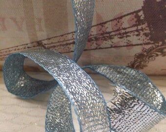 "11/16"" VIntage Tinsel Blue Ice Sparkle-Tie Norcross"