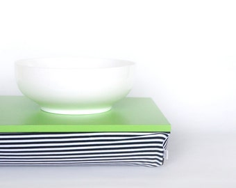 Kids lap desk, travel tray, laptop stand, Stable table, iPad stand- Bright green with black and white striped Pillow
