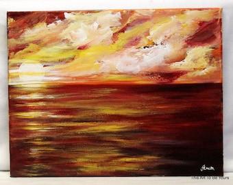 """Sunset, 11"""" x 14"""" stretched canvas, sunset art, sunset painting, sunrise painting, sunrise art, landscape art, unframed art, wall decor,"""
