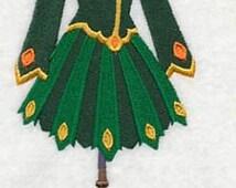 Celtic Irish Lady of Dance Dress Embroidered Flour Sack Hand Towel