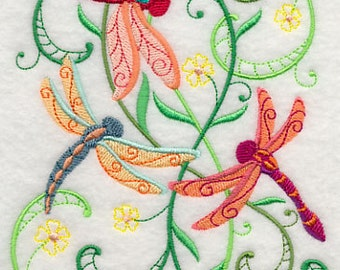Dragonfly Delight Embroidered Flour Sack Hand/Dish Towel