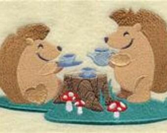 Woodland Tea Party for Hedgehog Embroidered Flour Sack Hand/Dish Towel