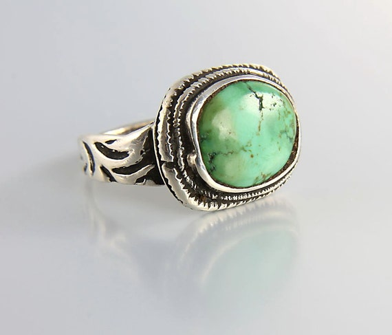 vintage sterling silver green turquoise ring israel by