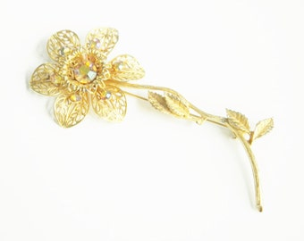 SALE Large Vintage Rhinestone Flower Brooch 4 inches