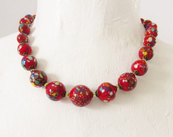 Vintage Red Murano Venetian Beaded Necklace Millefiori 1920s