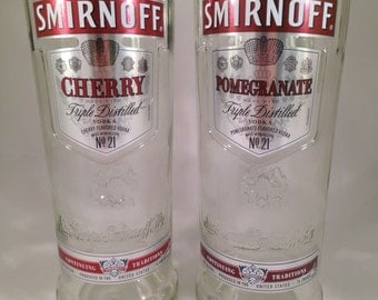 Smirnoff Cherry and Pomegranate Vodka Recycled Bottle Glasses - Set of 2