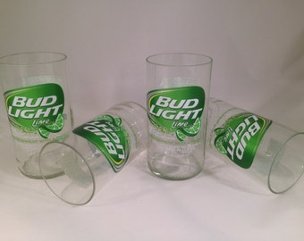 Bud Light Lime Recycled Glasses - Set of 4