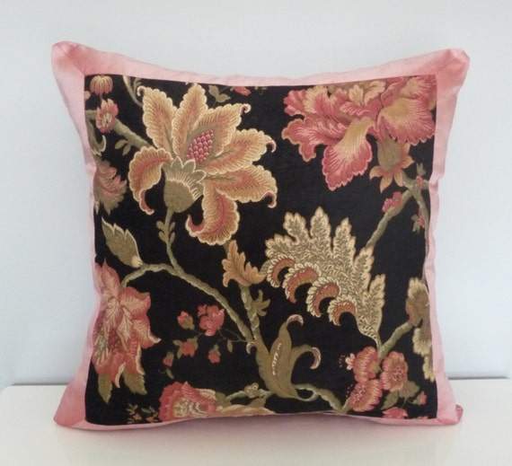 Black Chenille Floral Pillow Cover. Pink Silk Pillow. by Tanche
