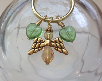 Angel heart keychain -green