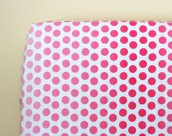 Baby Girl Crib Bedding, Pink Polka Dot Fitted Crib Sheet, Baby Nursery Crib Bedding, Ombre Dot Pink Crib Sheet