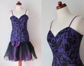 Vintage 1980's Party Dress - Lace Tulle Skirt - Drop Waist Dress - Purple Fun Dress - Size M