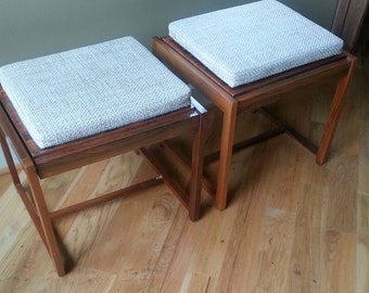 Domus Danica Pair of Mid Century Reversible teak Ottoman Sidetables. Danish sidetable. Stamped