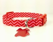 Pink and Red - Dog Collar - Adjustable