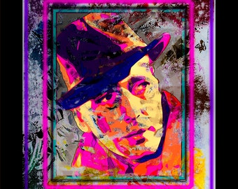 Humphrey Bogart, abstract movie icon portrait painting, limited edition print, mixed media expressionist, modern contemporary - Bogey Man