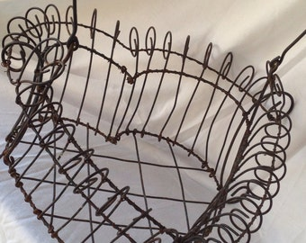 Large wire heart basket, french wire basket