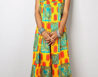 Sleeveless Dress - Funky African Print Dress  : Happy Holiday Collection No.1