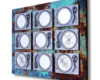 Industrial Decay Urban Music Mirror  - OOAK - Silver & Rust  - DJ - Music - Vinyl - Art