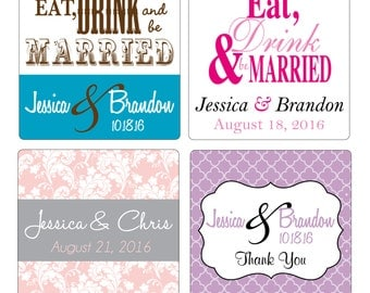 180 - 2.5 inch Custom Glossy Waterproof Wedding Stickers Labels - many designs to choose - change designs to any color, wording etc
