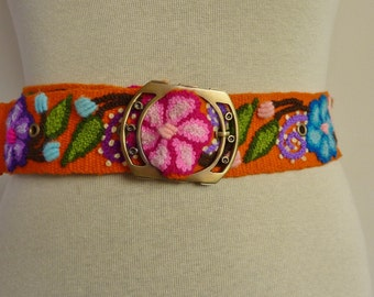 "Handmade Embroidered women's belt size 34.5"" to 42"" in orange, organic"