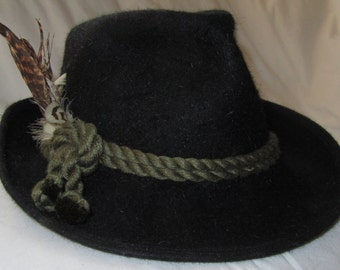 Vintage HUT-MAURER Black Fedora Hat from Bavaria