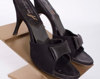 Vintage 1950s Springolator Pumps Black Suede and Satin Fabric 50s Vintage Springolators with Stiletto Heels Size 7