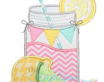 Summer Lemonade Mason Jar Embroidery Design Machine Applique