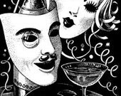 Masks Party New Years Mascarade Mardi Gras Parade Carnival Party - Digital Image - Vintage Art Illustration - Instant Download