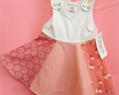 Baby Girl's Summer Dress, cotton jersey tank top with vintage cotton full circle skirt, pinks and red prints, vintage fabrics colorful print