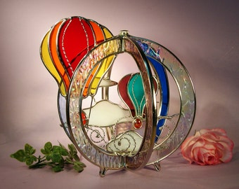 Stained Glass Hot Air Balloons with Sea Gull Swirl (761)