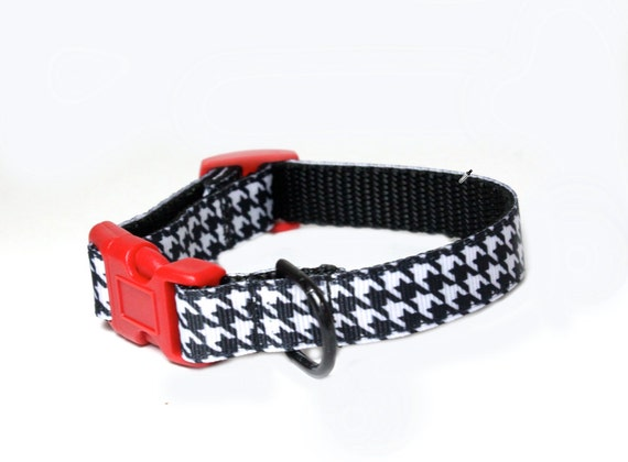 Dog Collar in Houndstooth, Preppy Dog Collar