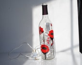 Red Poppy Hand Painted lighted wine bottle,Wine Decor, Table Lamp, Night Light,  Mothers Day,Poppies,Flowers