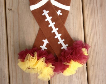 marron and gold Football boot socks leg warmers or arm warmers