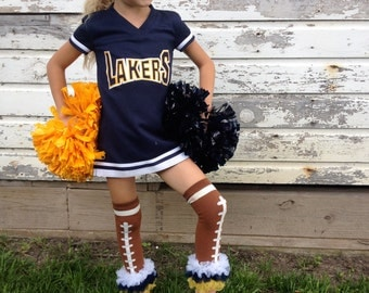 Navy Gold and white boot socks leg warmers or arm warmers