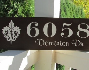 Personalized wood home address sign with street address - damask design - personalized - custom wood sign in colors of your choice  LR-006