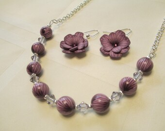 Polymer Clay Floral Bead Necklace and Earrings Set in Purple