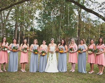 RESERVED for Albriana Pierre's Bridal Party -  Custom Princess Infinity Gowns w/Reversible Straps in Coral & Dk. Cor