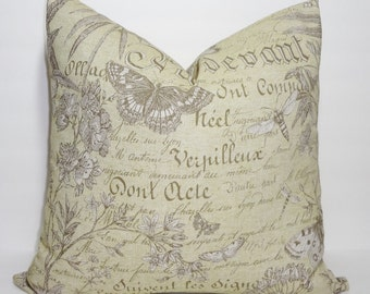 French Script Throw Pillow Cover Green Butterfly Decorative Pillow Cover 18x18