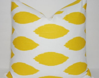 INVENTORY REDUCTION Pillow Cover Yellow Corn Chipper Yellow & White Ikat Decorative Pillow Cover SIZE 18X18