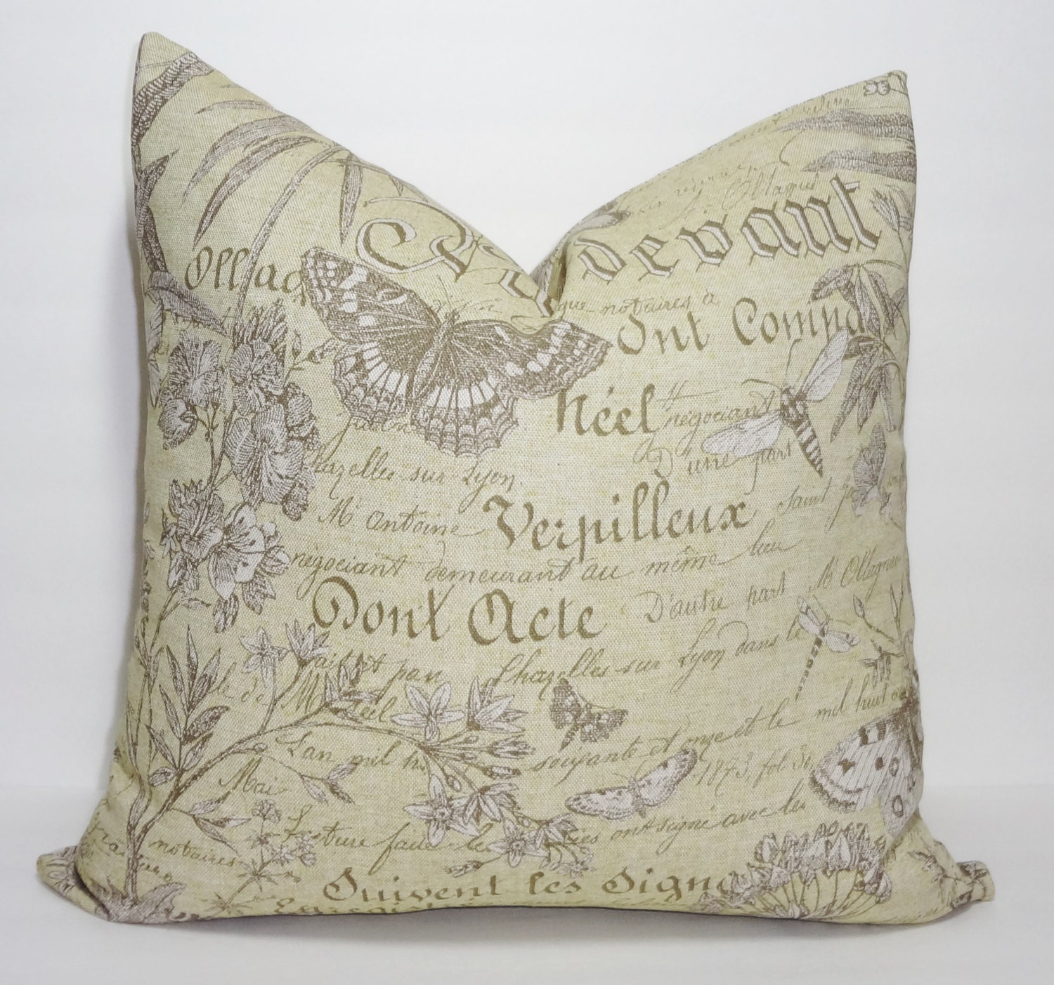 Throw Pillows With French Script : French Script Throw Pillow Cover Green Butterfly Decorative