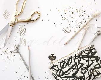 Styled Stock Photo, Desk Office Stock Product Photography, Gold Scissors, Pencil Case, Metallic Pencils, Glitter Confetti Custom Stock Photo