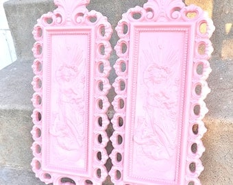 Light Pink ORNATE Wall Plaques Set Vintage Goddess Cherubs Angels