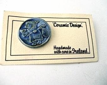 Vintage Ceramic Brooch Ireland Viking Coin Copy St Patricks Day 1980s