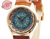 Flower Pattern Miniature Ladies Watch, Vintage Style Watch, Women Watch, Gifts for Wife, Birthday Gift, Anniversary Gift - Free Shipping