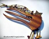 Ribbon Figured Sapele Handmade Hair Fork