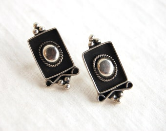 Vintage Mexican Earrings Sterling Silver Shadow Box Posts Studs Artisan Framed Portrait Domes Taxco Mexico
