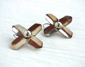 Abstract Flower Earrings Vintage Mexican Sterling Silver Modernist Cross Flowers Taxco Mexico Modern Floral Monochrome